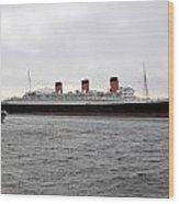 Queen Mary Ocean Liner Full Starboard Side 03 Long Beach Ca Wood Print