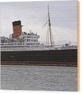 Queen Mary Ocean Liner Starboard Side 05 Long Beach Ca Wood Print
