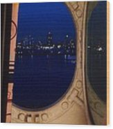 Queen Mary Port Hole Night  Wood Print