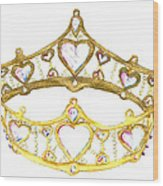 Queen Of Hearts Crown Tiara By Kristie Hubler Wood Print