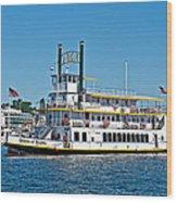 Queen Of Seattle Vintage Paddle Boat Art Prints Wood Print