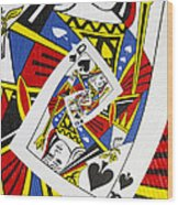 Queen Of Spades Collage Wood Print