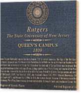 Queen's Campus - Commemorative Plaque Wood Print