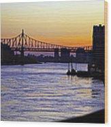 Queensboro Bridge At Night - Manhattan Wood Print