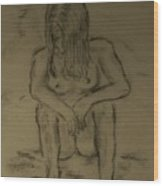 Quick Sketch Nude Wood Print by Carrie Viscome Skinner