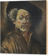 Quick Study Of Rembrandt Wood Print