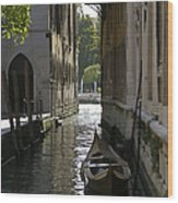 Quiet Canal In Venice Wood Print