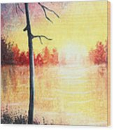 Quiet Evening By The River Wood Print