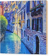 Quiet Morning In Venice Wood Print