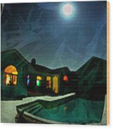 Quiet Night With A Full Moon Wood Print
