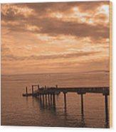 Quiet Peachy Toned Pier Wood Print