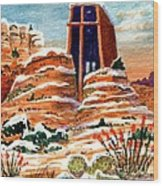 Quiet Snowfall  Sedona  Arizona Wood Print