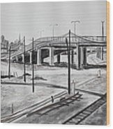 Quiet West Oakland Train Tracks With Overpass And San Francisco  Wood Print