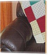 Quilt Beside A Fireplace Wood Print