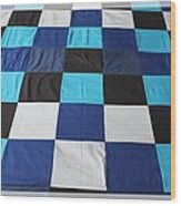 Quilt Blue Blocks Wood Print by Barbara Griffin