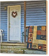 Quilt On The Front Porch Wood Print