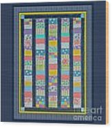 Quilt Painting With Digital Border 2 Wood Print