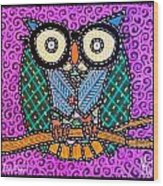 Quilted Dr Owl Wood Print