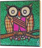 Quilted Mr Owl Esquire Wood Print