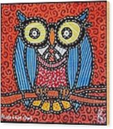 Quilted Professor Owl Wood Print