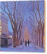 Quincy Market At Twilight Wood Print