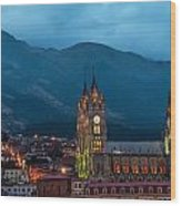 Quito Basilica At Night Wood Print