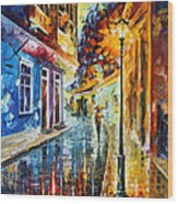 Quito Ecuador - Palette Knife Oil Painting On Canvas By Leonid Afremov Wood Print