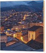 Quito Old Town At Night Wood Print
