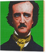Quoth The Raven Nevermore - Edgar Allan Poe - Painterly - Green Wood Print by Wingsdomain Art and Photography