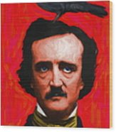 Quoth The Raven Nevermore - Edgar Allan Poe - Painterly - Red - Standard Size Wood Print by Wingsdomain Art and Photography