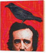 Quoth The Raven Nevermore - Edgar Allan Poe - Painterly - Square Wood Print