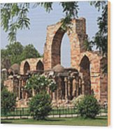 Qutab Minar Ruins Wood Print