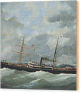 R. Bell And Co.s Steamship Bothal In A Heavy Swell Wood Print