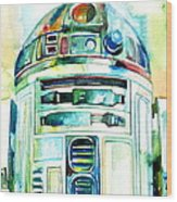 R2-d2 Watercolor Portrait Wood Print