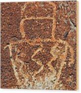 Shaman Petroglyph C Wood Print