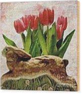 Rabbit And Pink Tulips Wood Print