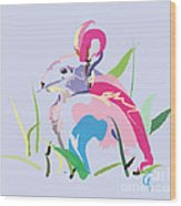 Rabbit - Bunny In Color Wood Print