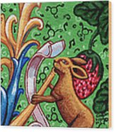 Rabbit Plays The Flute Wood Print