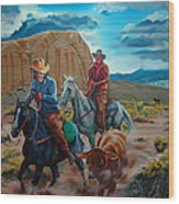 Rabbitbrush Round-up Wood Print