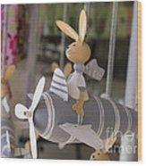 Rabbits Can Fly Wood Print