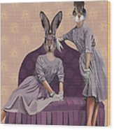 Rabbits In Purple Wood Print by Kelly McLaughlan
