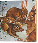 Rabbits In Snow Wood Print