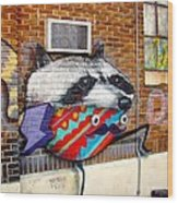 Raccoon On The Wall Wood Print