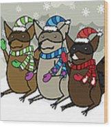 Raccoons Winter Wood Print