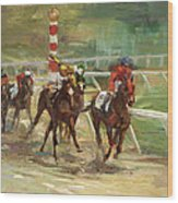 Race Horses Wood Print by Laurie Hein