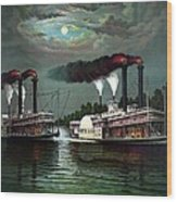 Race Of The Steamers Robert E Lee And Natchez Wood Print