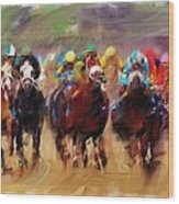Race To The Finish Line Wood Print