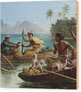 Race To The Market Tahiti Wood Print