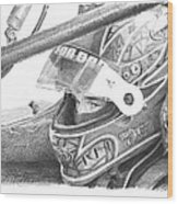 Racecar Driver Pencil Portrait  Wood Print
