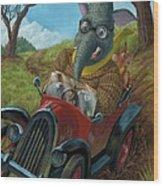 Racing Car Animals Wood Print by Martin Davey